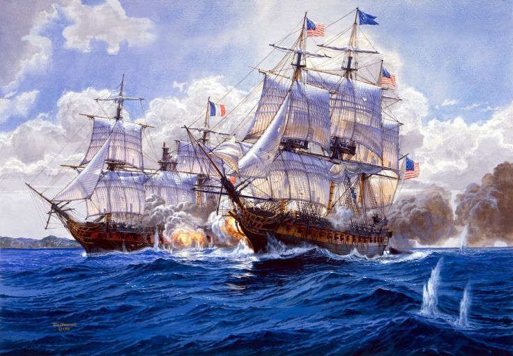 Best Gift Home Decor Ship Naval Battle Oil Painting Picture Printed On Canvas V