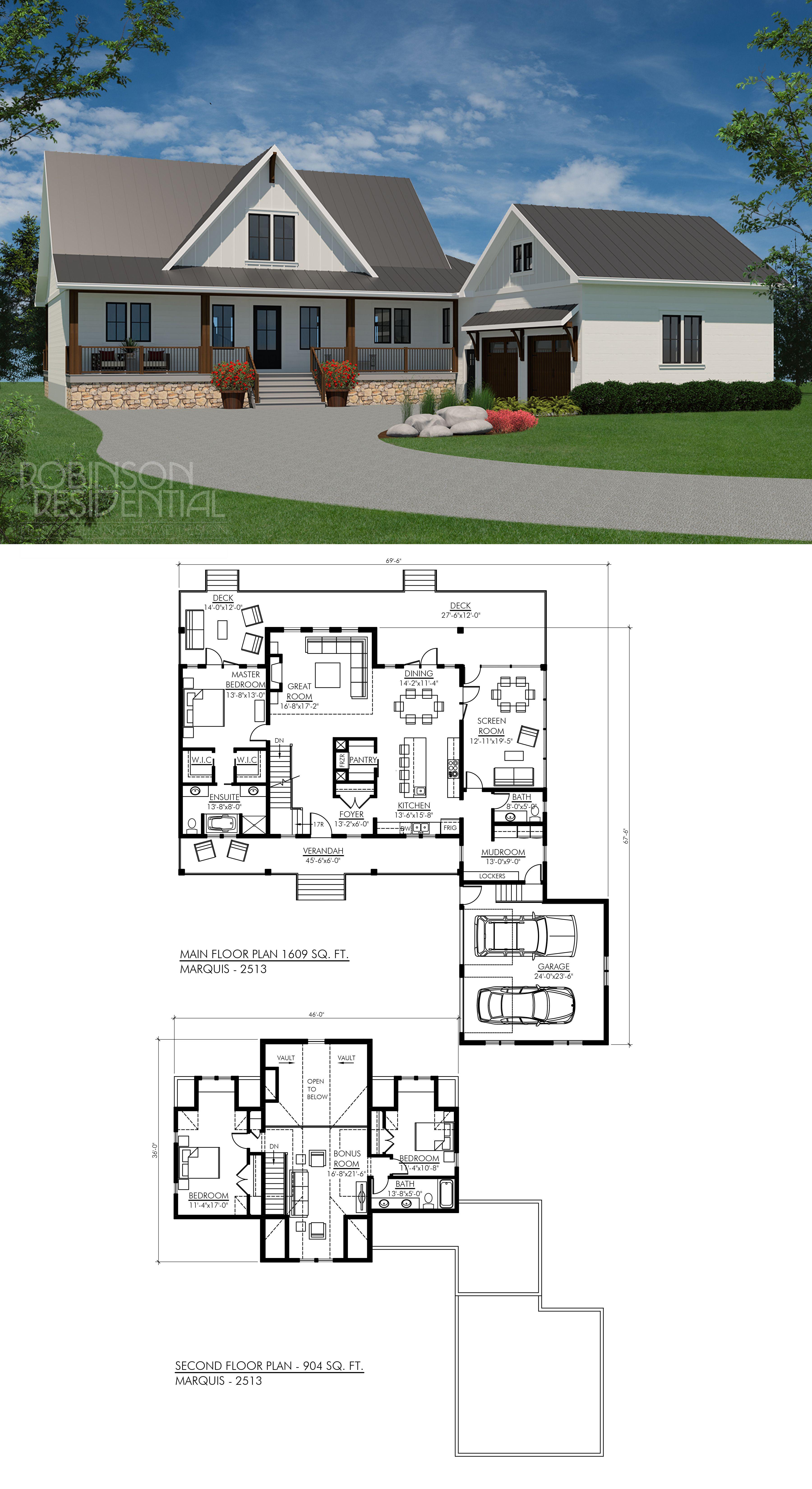Modern Farmhouse Marquis 2513 Robinson Plans Modern Farmhouse Floorplan Simple Farmhouse Plans Simple House Plans