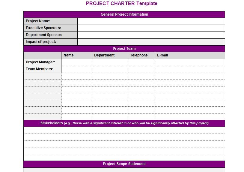 Project Charter Template Projectemplates Excel Project
