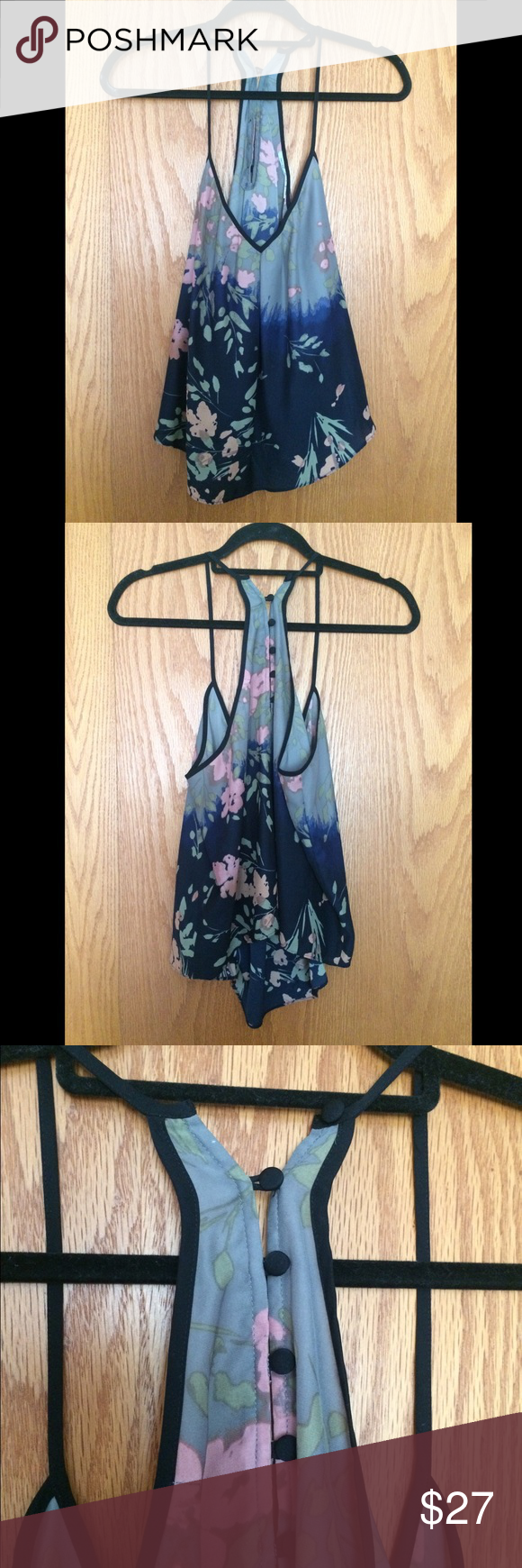 Kimchi Blue Boho Floral Tank - M Kimchi Blue boho floral tank with low v front, racer style back and a-line hi/lo hem. Missing one button loop at back but does not detract from the garment. Like new otherwise. Size M. Kimchi Blue Tops Tank Tops