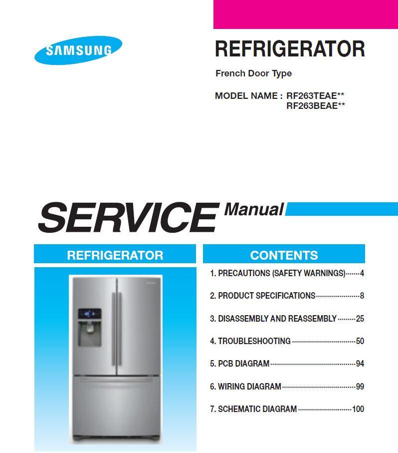 Samsung Rf263beae Rf263teae Series Refrigerator Service Manual Repair Instructions Refrigerator Service Repair Guide Samsung Refrigerator