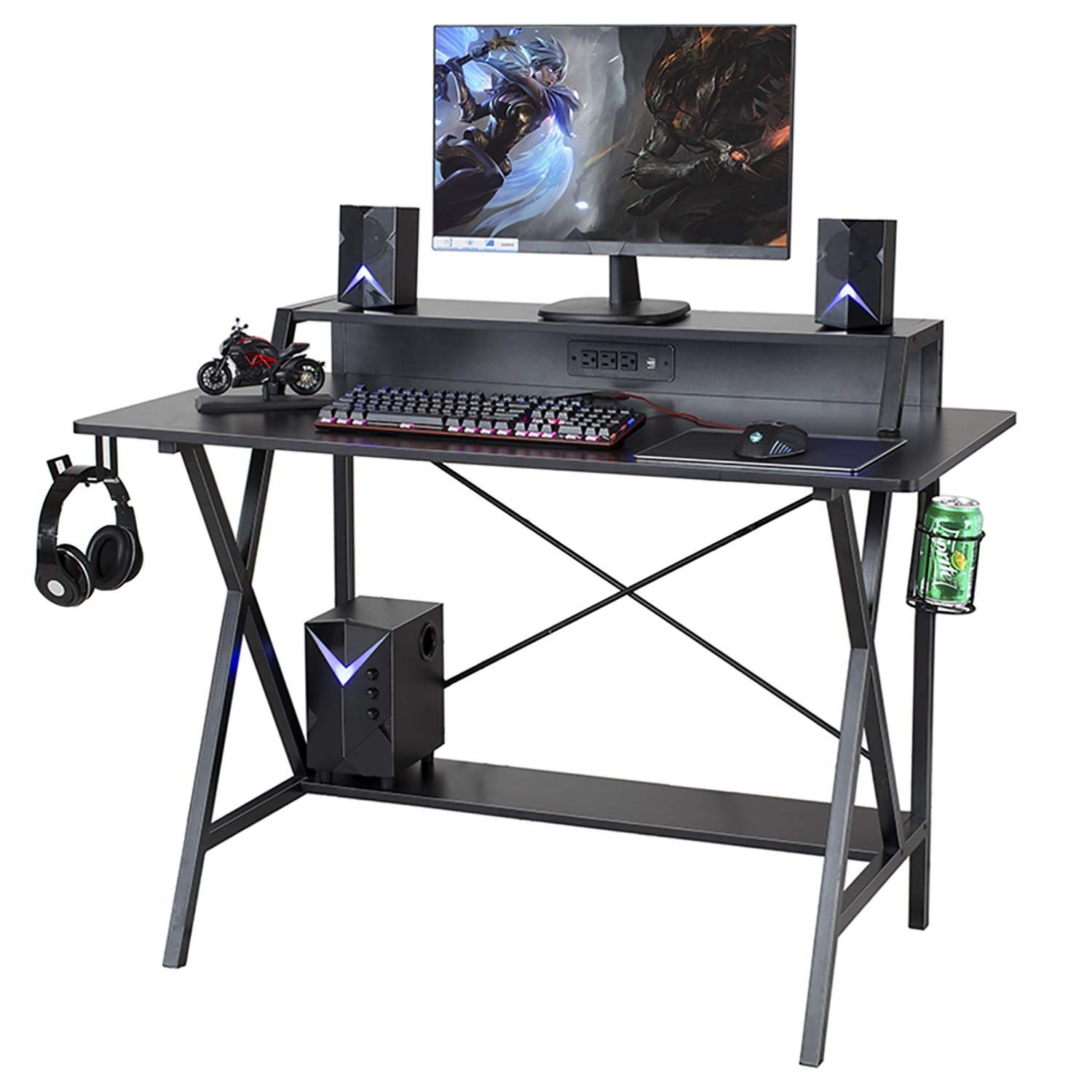 Sedeta Gaming Desk, 47 Gaming Table, E-Sports Computer Desk, Gaming Workstation Desk, PC Stand Shelf Power Strip with USB Cup Holder & Headphone Hook Home Office Desk Gamer Desk Writing Table, Black #gamingdesk