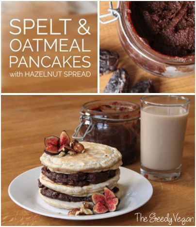 Spelt and oatmeal pancakes with home made hazelnut-date spread.