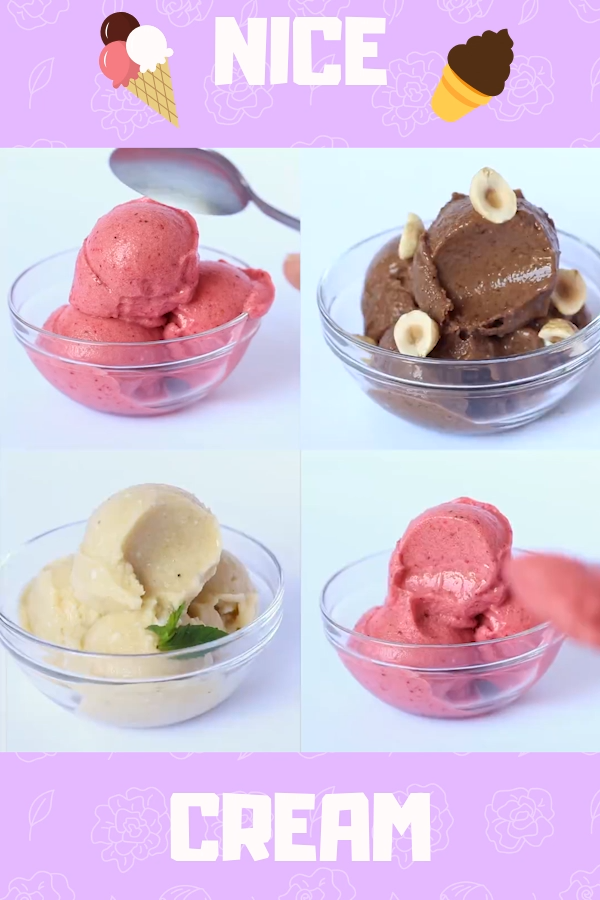 Best Nice Cream Recipes - These Healthy Banana Ice Cream flavors are sure to satisfy any frozen dessert cravings all without dairy and added sugar. From strawberry and piña colada to Nutella and mocha there is a flavor for every taste bud #nicecream #icecream #healthy #recipe #frozen #dessert #frozendessert #summer #family