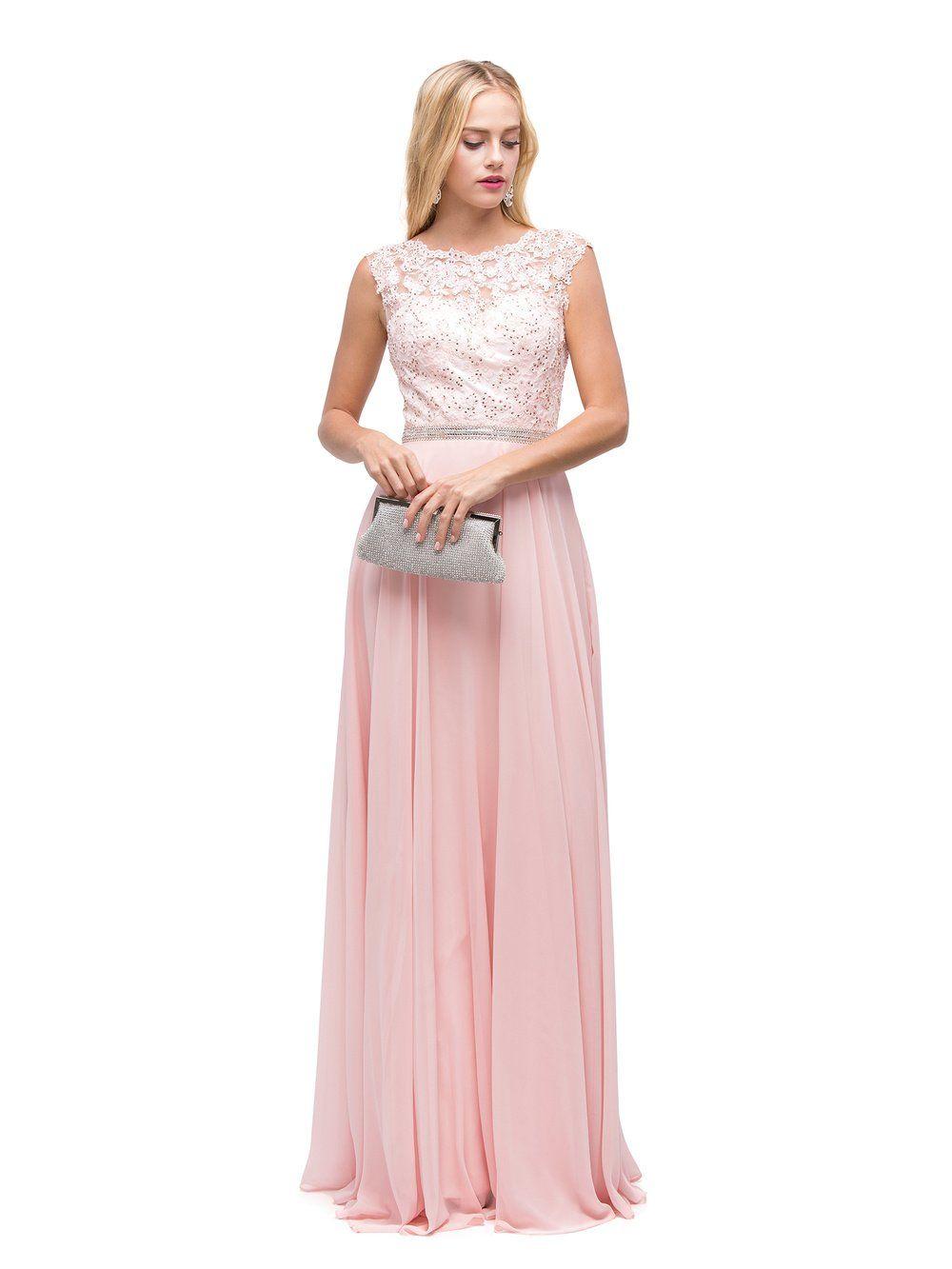 056c487c45 DQ 9675 - Pastel Prom Dress with Illusion-Lace Bodice   Chiffon ...