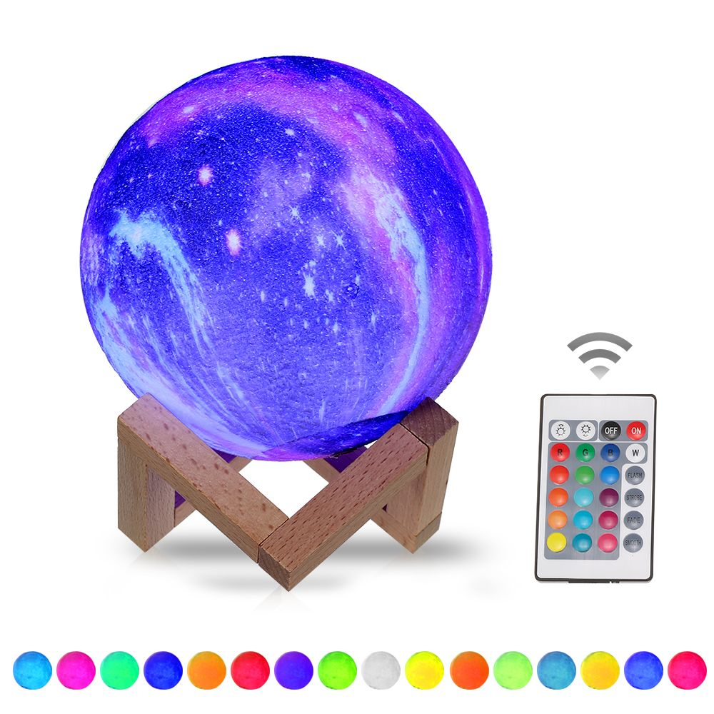 20cm 7 9in 3d Printing Star Moon Lamp Usb Led Moon Shaped Table Night Light With Base 16 Colors Changing Touch And Remote Control Star Light Decor Gifts Walma In 2020 Moon
