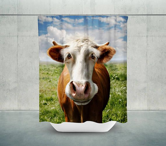 Cute Cow Bath Shower Curtain Bathroom Decor Farmhouse Farm