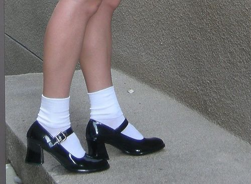 Remember In The 90 S When Mary Janes With Thigh High Hose Was Popular Description From Fashionablepeople Wordpre Socks And Heels Aesthetic Shoes Vintage Shoes