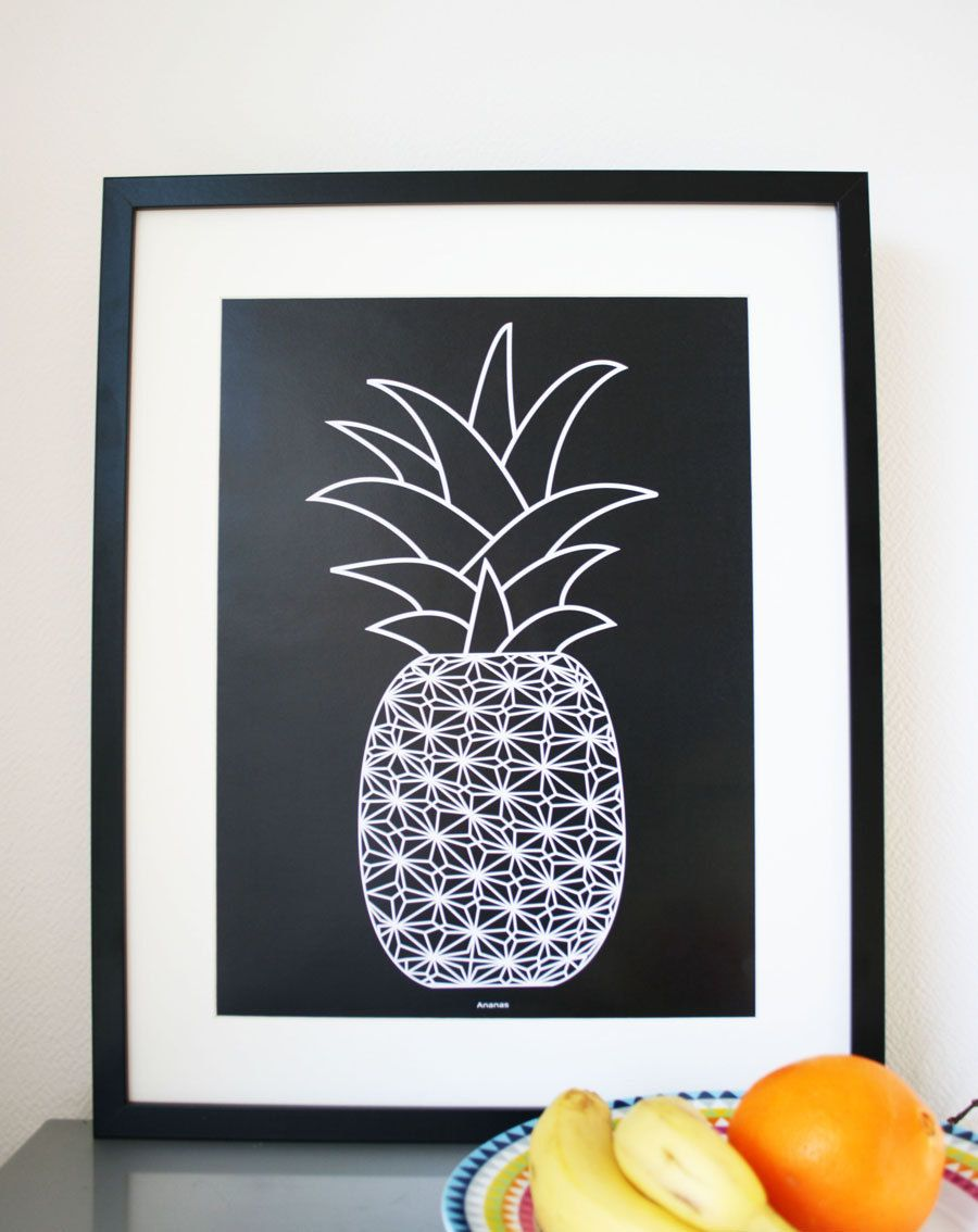 Graphic Art Print poster of a Pineapple black/white A3 by Ramalamb, $30.00