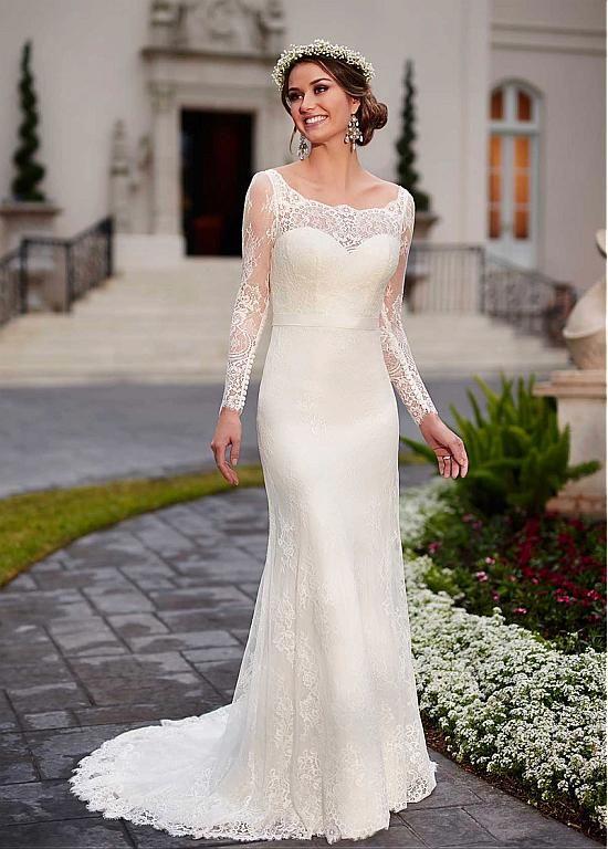 comprar Elegante Encaje Scoop vestido de novia de manga larga con ...