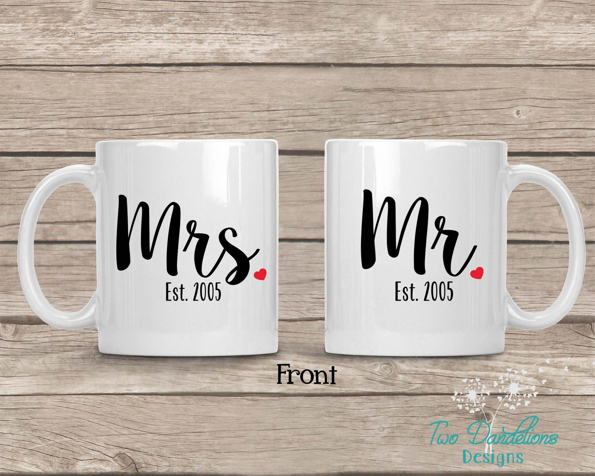 and Mrs Mr Established Coffee Mug Set
