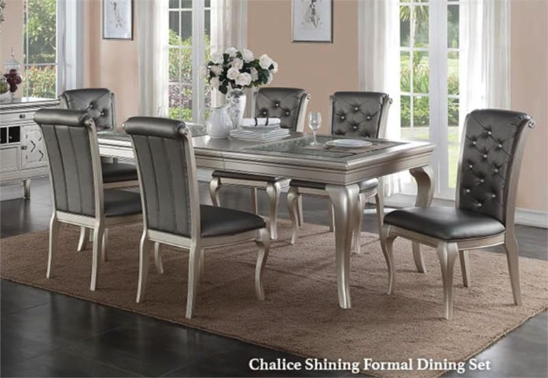 CHALICE SHINING FORMAL DINING SET WITH 6 CHAIRS Indulge Your Guests With A  Beautiful Silver