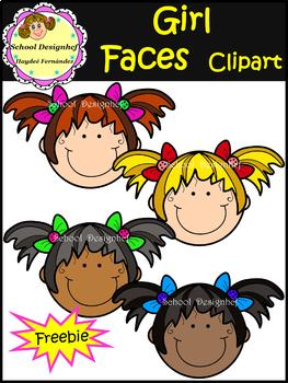 Free - Girl Faces - Clip Art - Freebie (School Designhcf)