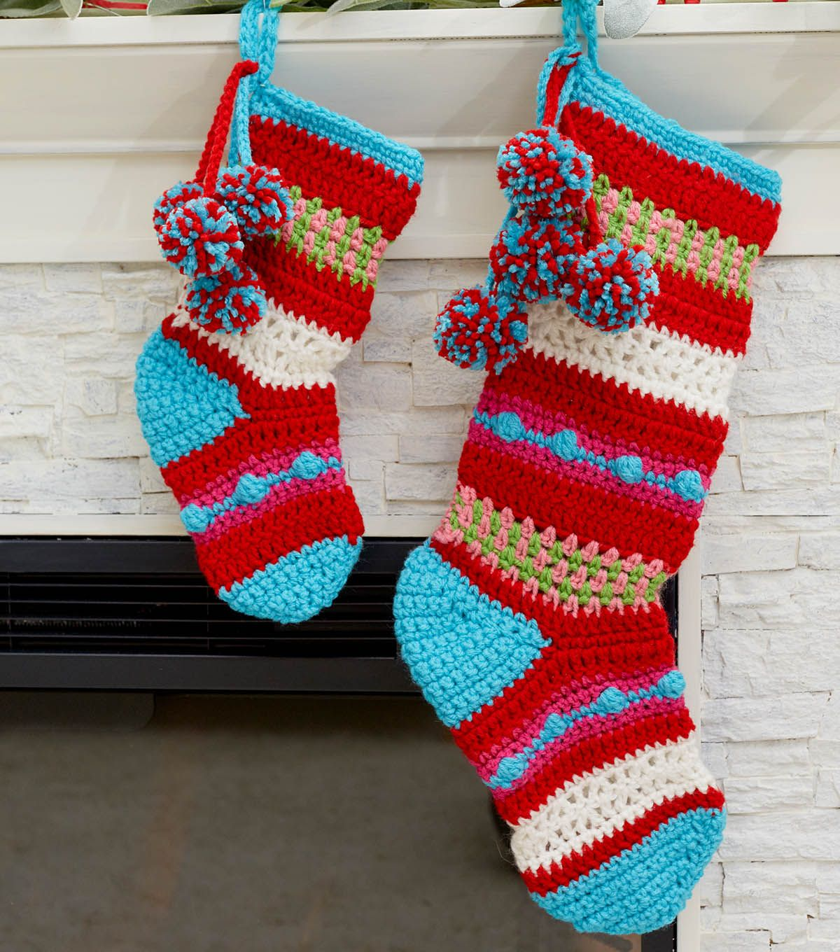 How To Crochet Pompoms And Stripes Holiday Stockings | Christmas ...