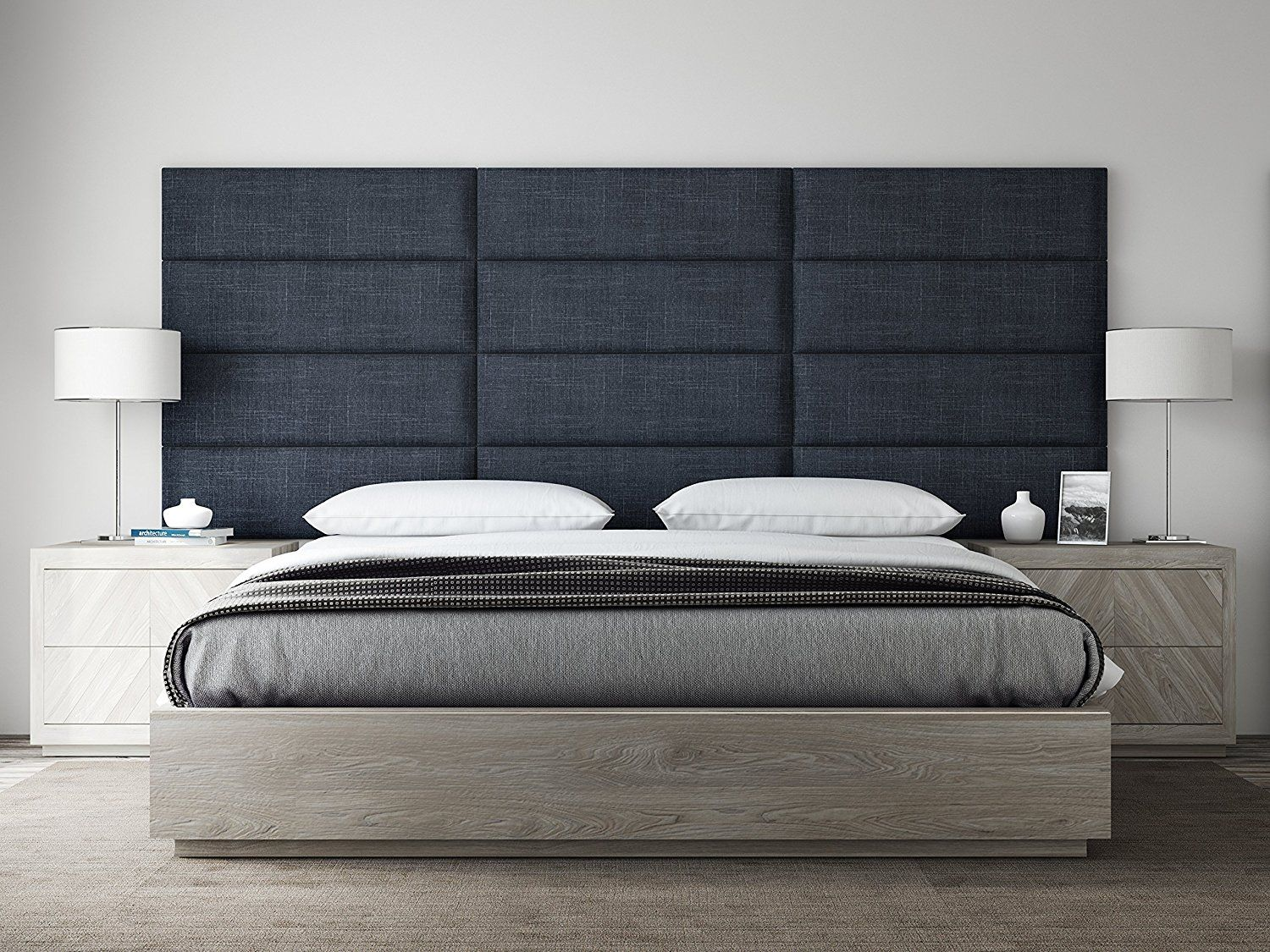 Amazon Com Vant Upholstered Headboards Accent Wall Panels Packs Of 4 Textured Cotton Weave Midn Bed Headboard Design Bed Furniture Design Bed Furniture