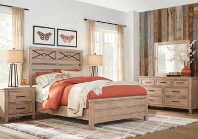 Alpine Lake Washed Oak 5 Pc Queen Panel Bedroom