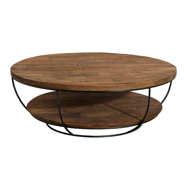 Table Basse Kenzo Marron 100x100x35 Cm Table Basse Ronde Table Basse Table Basse Teck