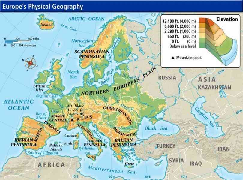Mountains Of Europe Geography Pinterest Map Physical
