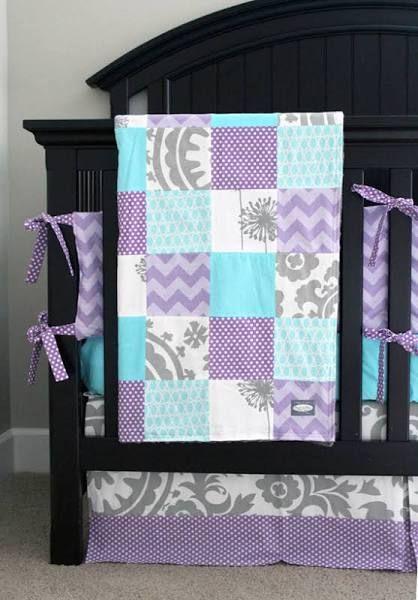 Purple Gray Turquoise Baby Blanket Baby Girl Crib Bedding Baby Girl Bedding Crib Bedding Girl