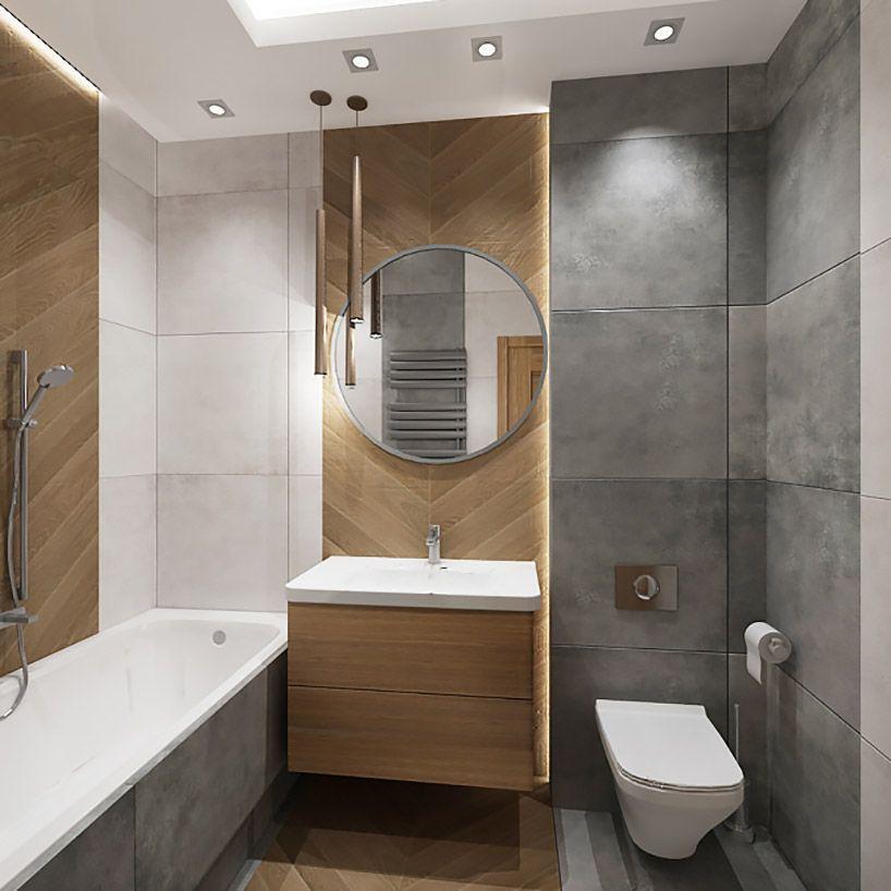 szaro-drewniana mała łazienka | Nowoczesne projekty ...