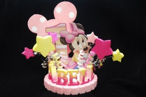 Magnificent Baby Minnie Mouse 1St Birthday Cake Topper Minnie Mouse Cake Funny Birthday Cards Online Alyptdamsfinfo