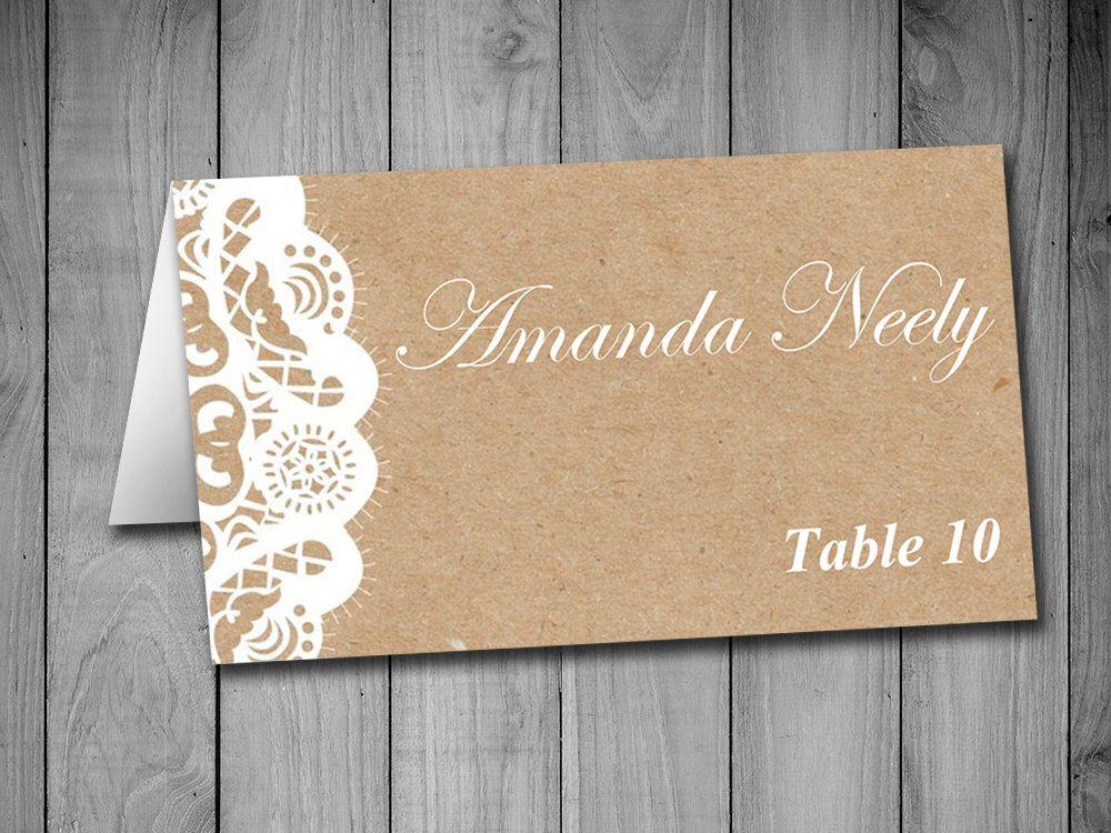 Fold Over Wedding Place Card Template - Kraft Escort Card - Vintage - folded place card templates