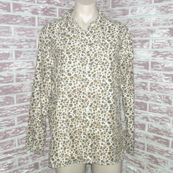 "Leopard Print Moleskin Shirt Petite Large Button down moleskin shirt. Polyester fabric and machine washable. Petites are ideal for women who are 5'4"" in height and shorter. Excellent pre owned condition.   Bust: 44"" Length: 26""   INVT320 Studio Works Tops Button Down Shirts"