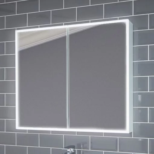 Marcel Illuminated Bathroom Cabinet Mirror With Shaver Socket Pebble Grey In 2020 Bathroom Mirror Cabinet Illuminated Bathroom Cabinets Mirror Cabinets