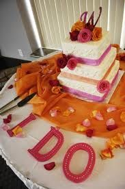Letters and orange material for cake table