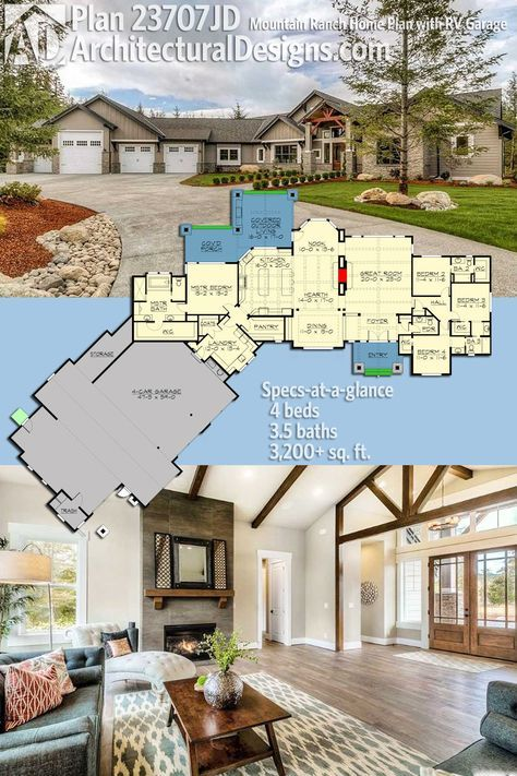 Plan 23707jd Mountain Ranch Home Plan With Rv Garage Ranch House Plans Craftsman House Plans Dream House Plans