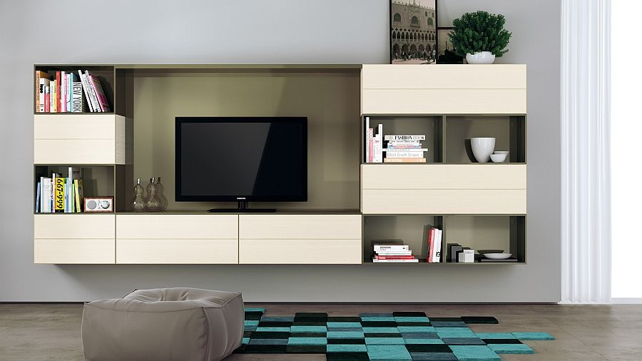 Charmant Lichen Green Gloss Lacquered Finish For The Open Cabinets Adds Elegance To  The Living Room Wall