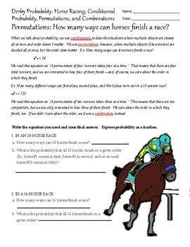 Kentucky Derby Permutations Worksheet Kentucky Derby Crafts