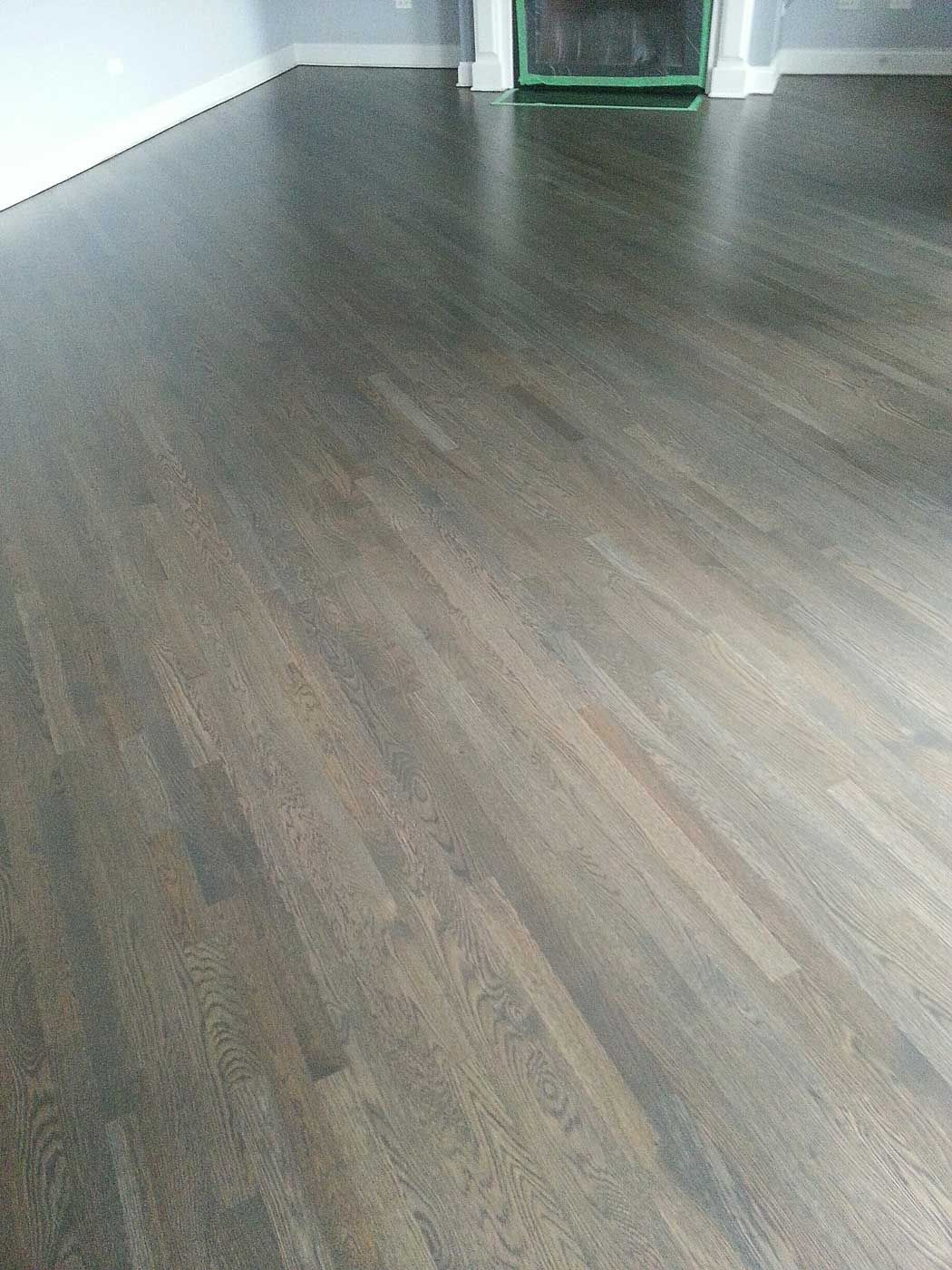 Custom Grey Stain With A Red Oak Wood Floor On A 45 Degree