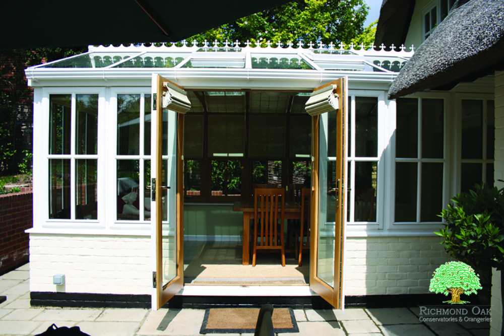 oak framed conservatory extension with french doors #conservatory #listedproperty #oakextension #houseextension #homerenovation #sunroom #livingspace