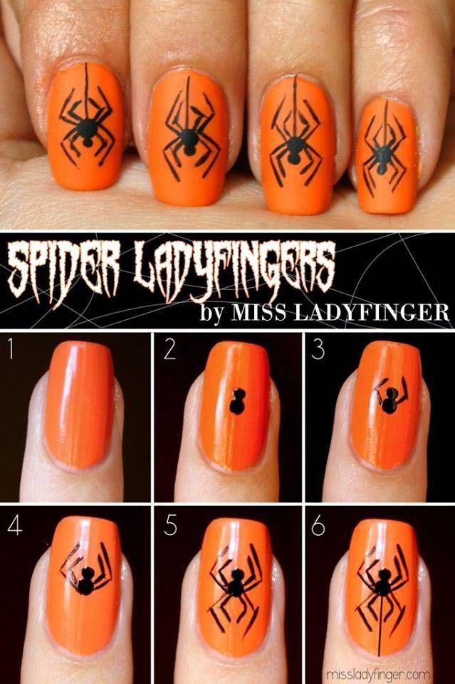 40+ Spooky and Creative DIY Halloween Nail Art Ideas --> Scary Spider Halloween Nail Art