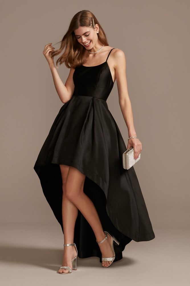 Satin High-Low Banded Dress with Spaghetti Straps