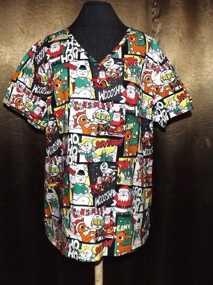 5c58f695710 new Rudolph the red nosed Reindeer scrub top sm Holiday Christmas Vets  Nurses #RudolphtherednosedReindeer