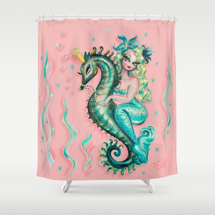 Mermaid Riding A Seahorse Prince Shower Curtain In 2020 Colorful