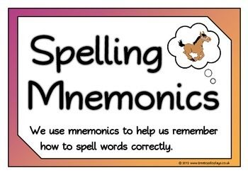 A set of 9 A4 printable posters of 8 spelling mnemonic words ...