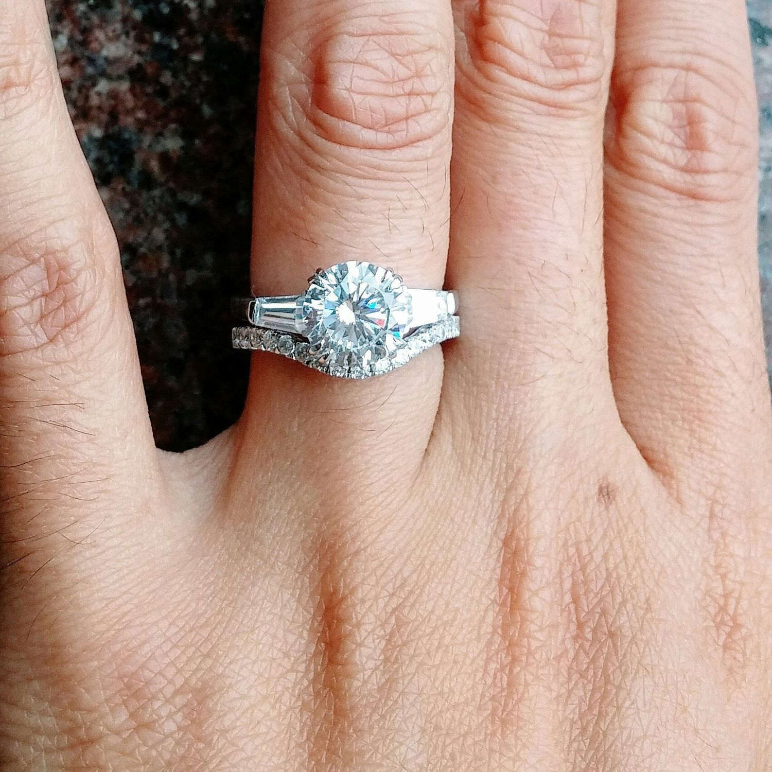 3 Stone Engagement Ring Trinity 2 Carat Man Made Diamond In 925 Silver Tapered Baguettes Free Box To Order