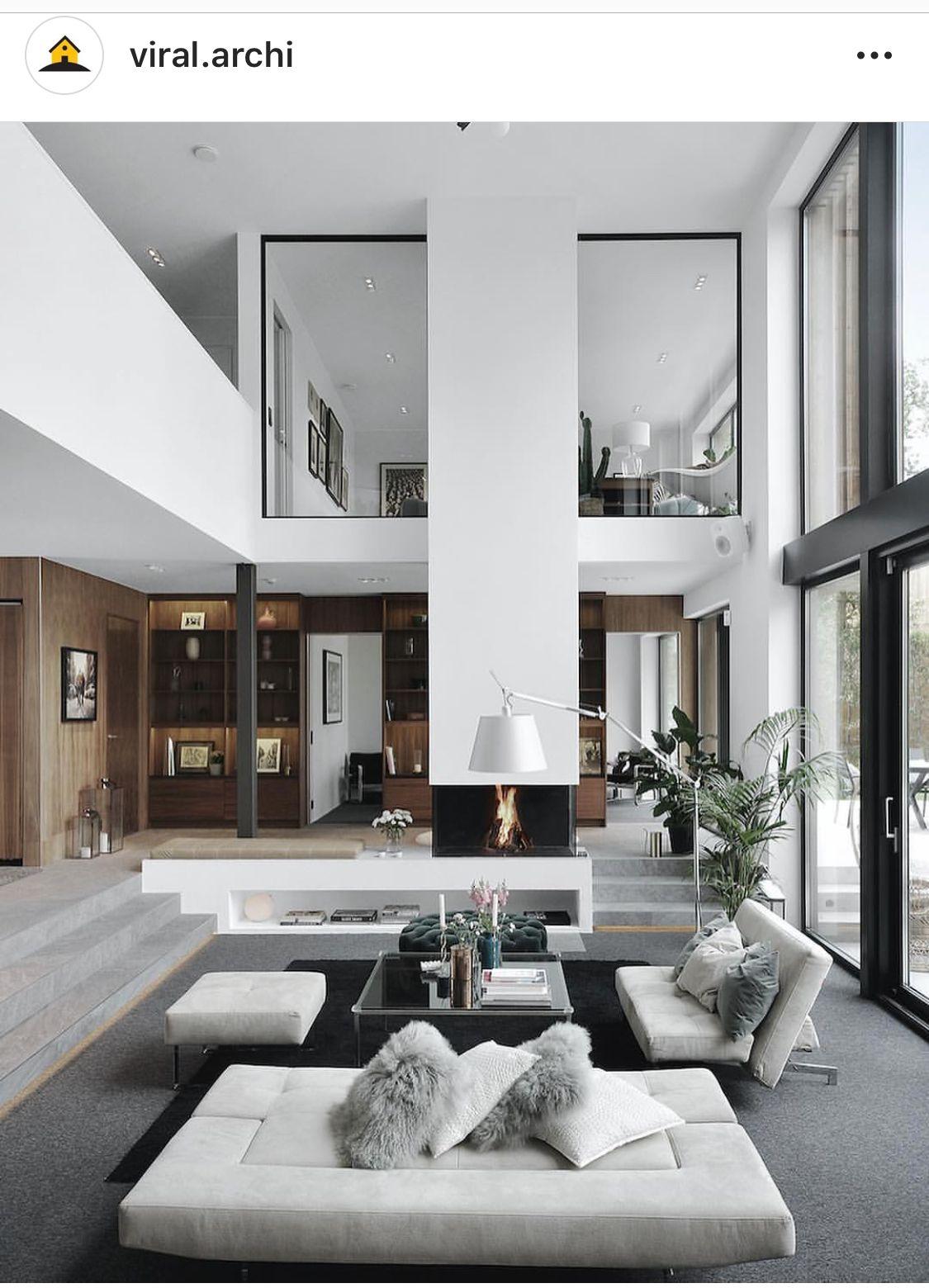 Double Height Sunken Space Interior Design Living Room
