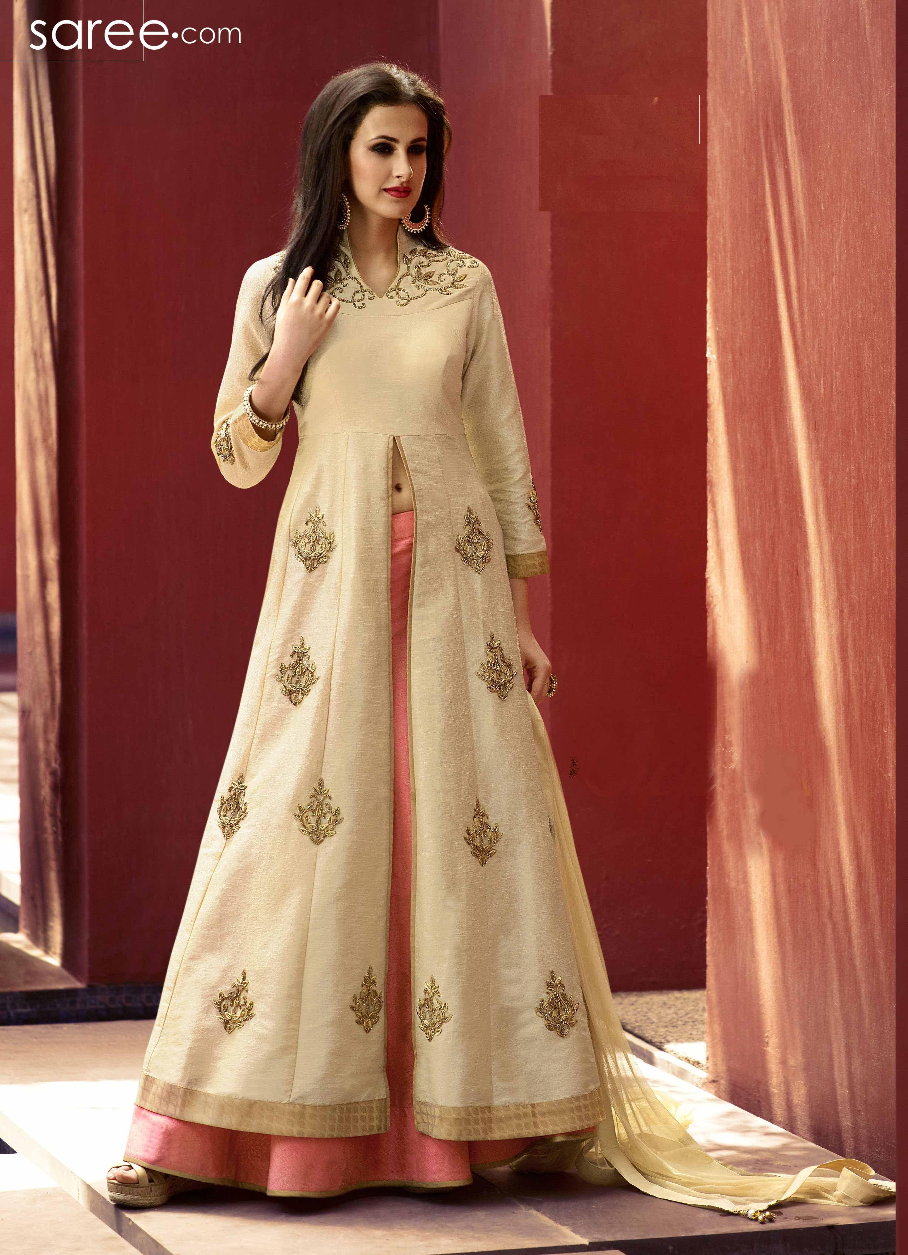 Dresses sarees suits lengha anarkali lehenga pink anarkali lehenga - Be Your Own Style Icon With Captivating Beige Art Silk And Jacquard Designer Lehenga Choli The Ethnic Em