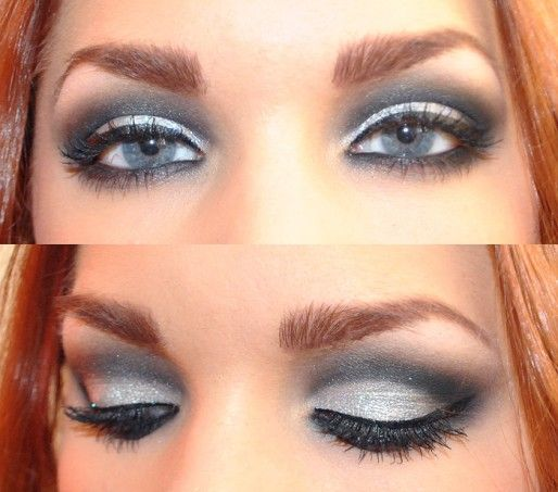 Look close to get a great gray and black smoky eye.  In this case, I often go back over it with the highlight color to brighten it up.