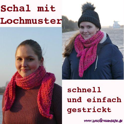Schal mit Lochmuster - kostenlose Strickanleitung mit Bildern Das ...