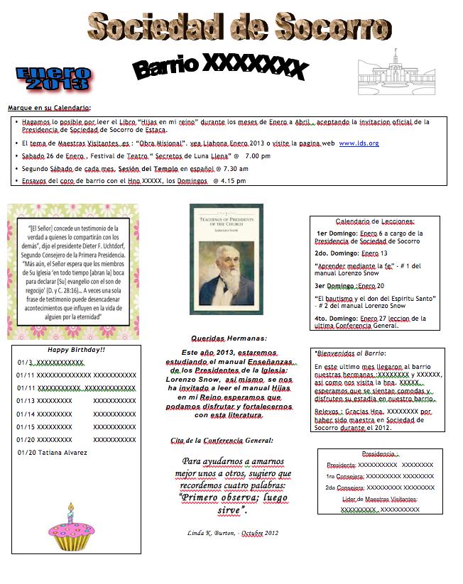 Plantilla para el Boletn Mensual -Sociedad de Socorro- | Sociedad de ...