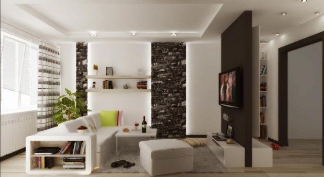 wohnzimmer modern einrichten schwarz weiß indirekte beleuchtung - wohnzimmer braun weis grun