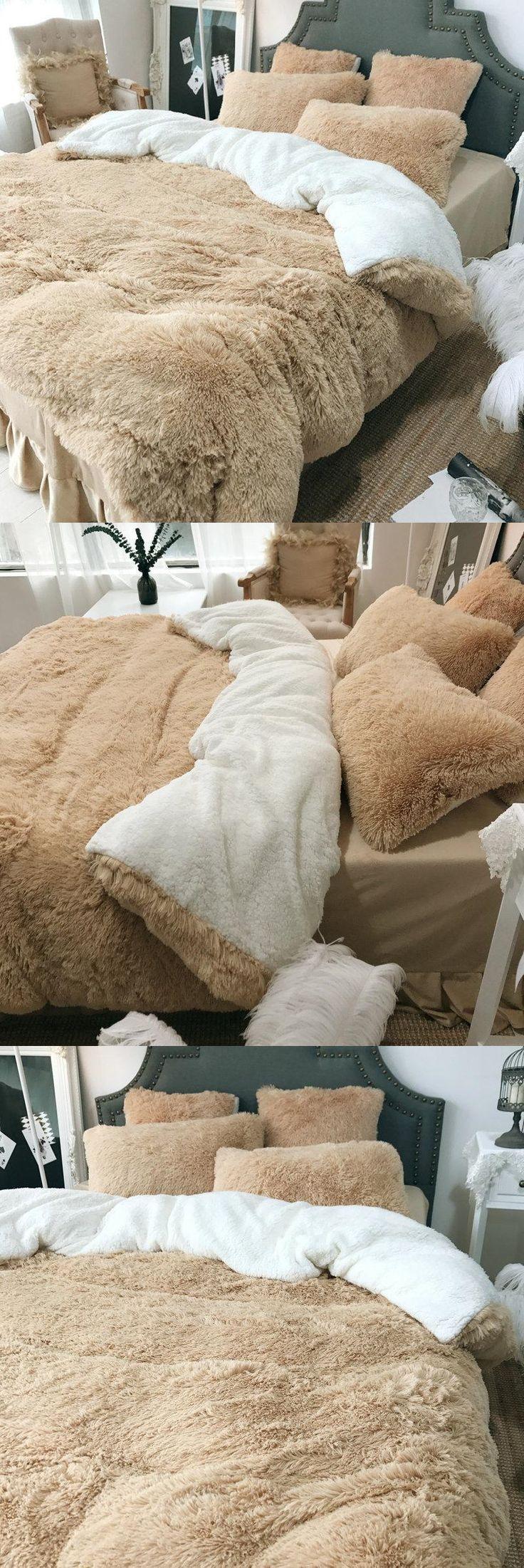 $119.99 USD 4Pcs Coral Fleece Shearling Bedding Set Sheet Warm Mink Cashmere Cover Pillowcase