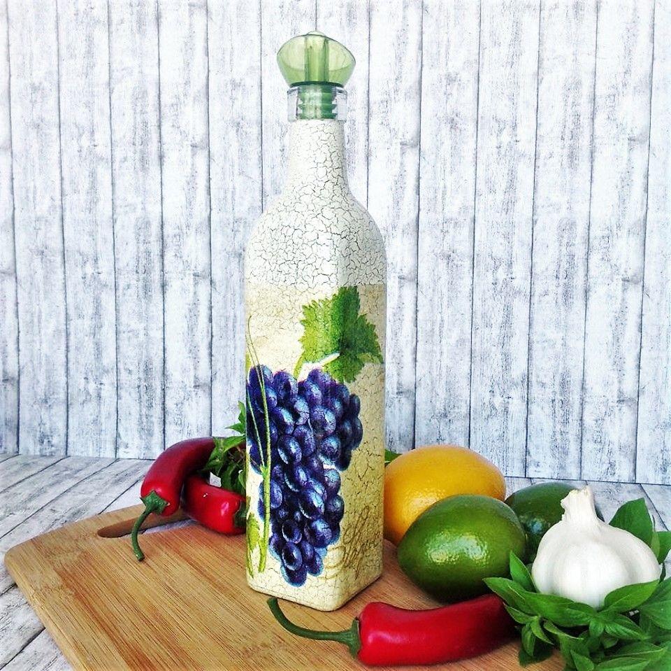 vinegar or olive oil glass bottle grape kitchen decor hostess gift kitchen storage kitchen on kitchen organization oil and vinegar id=24951