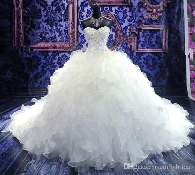 Luxury Beaded 2016 Wedding Dresses Princess Ball Gown Sweetheart Corset Organza Cathedral/Church Ball Gown Bridal Gowns Cheap