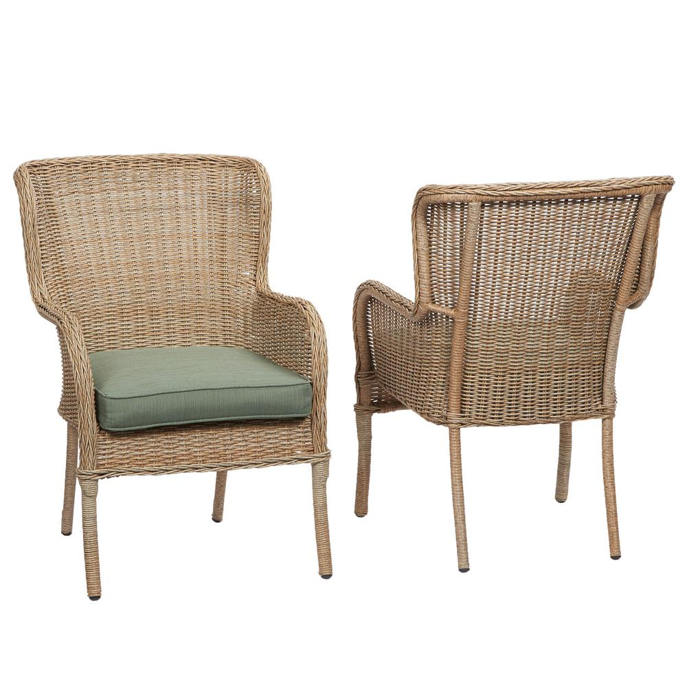 Hampton Bay Lemon Grove Stationary Wicker Outdoor Dining Chair With Surplus  Cushion (2 Pack)